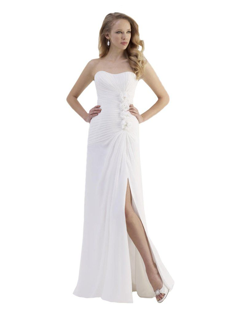 Slim fit wedding dresses  This simple elegant chiffon gown has a strapless bodice with a mid
