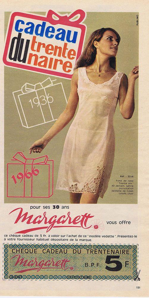 PUBLICITE ADVERTISING 094 1966 MARGERETT cadeau du trentenaire ...