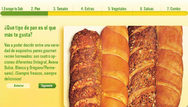 Integral, avena dulce, blanco y orégano/parmesano.  http://www.subwaycolombia.com/esp/como-ordenar/#