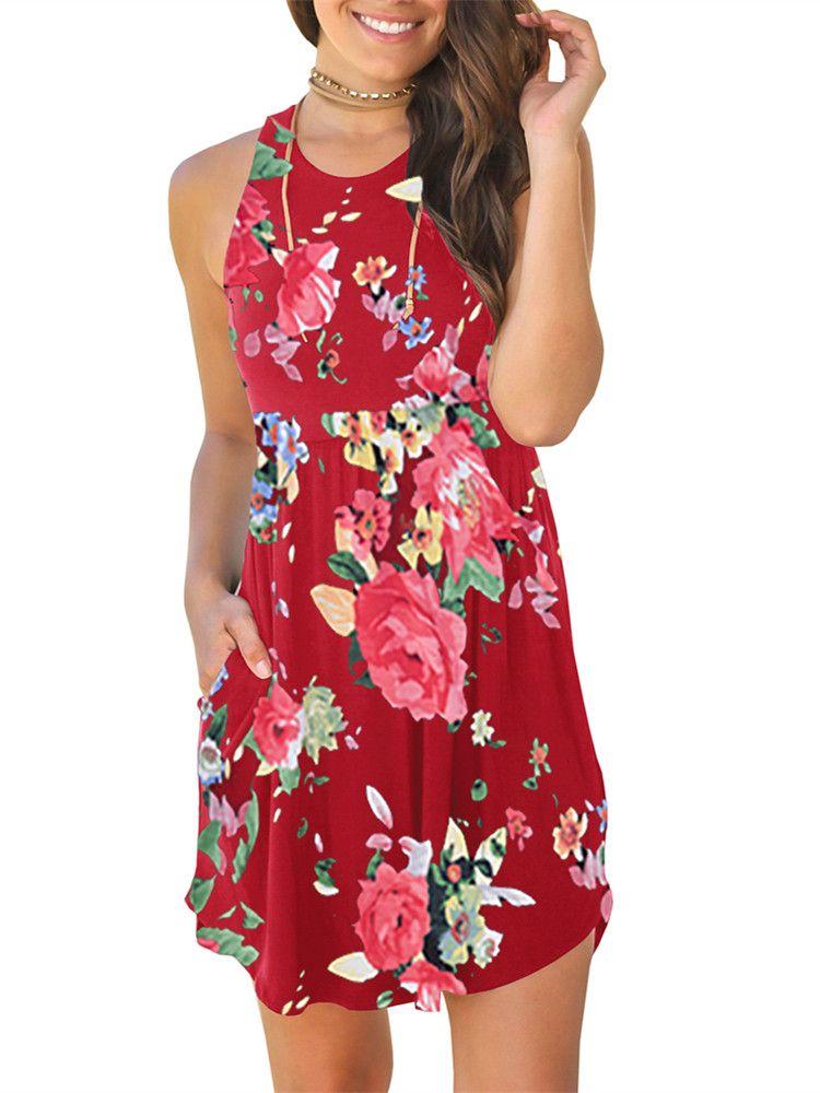 66b6f97bbd Sleeveless Floral Print Women Summer Mini Casual Dress#Print, #Women, # Sleeveless