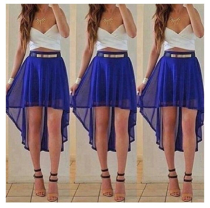 Royal blue high low skirt and white wrap top