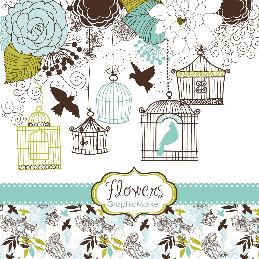 14 Flower Designs, Digital Paper And A Floral Border