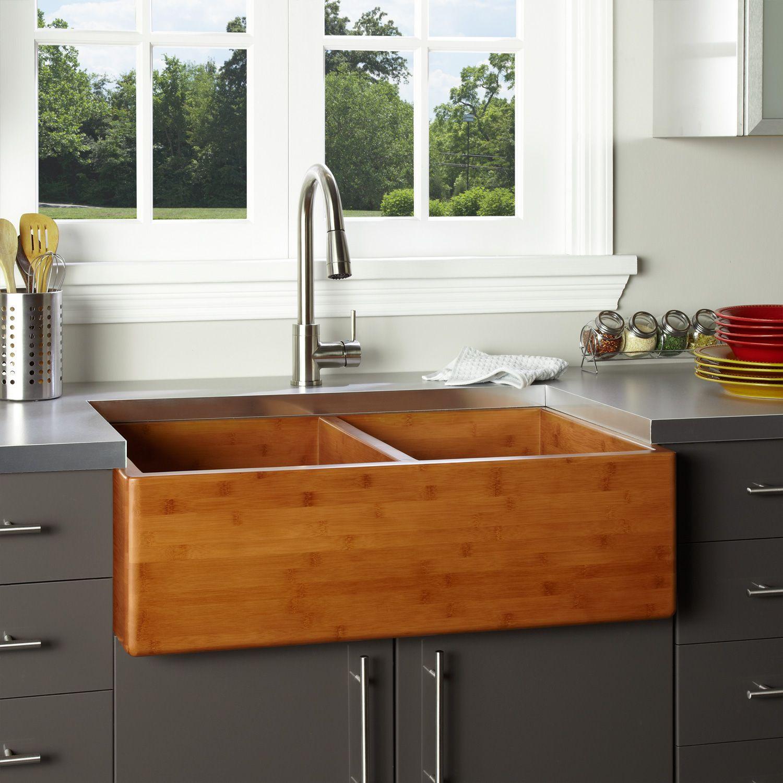"""36"""" Double Bowl Bamboo Farmhouse Sink Farmhouse kitchen"""