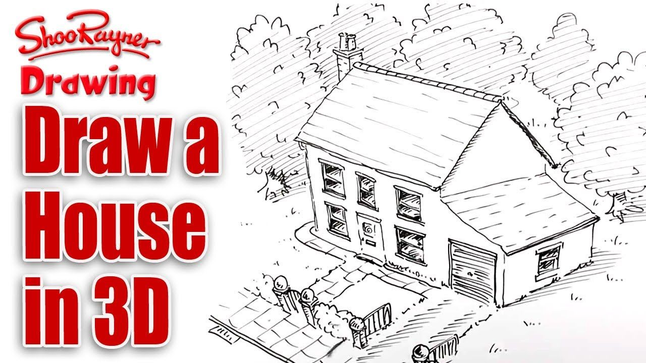 How To Draw A House In 3d   Birdu0027s Eye View