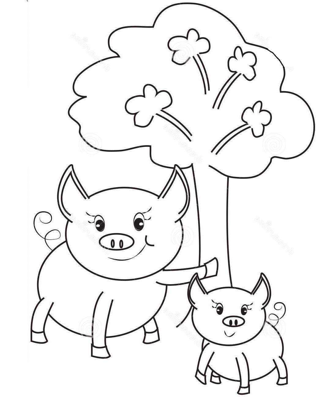 Happy Pig Playing Coloring Pages For Kids E7a Printable Pigs Coloring Pages For Kids