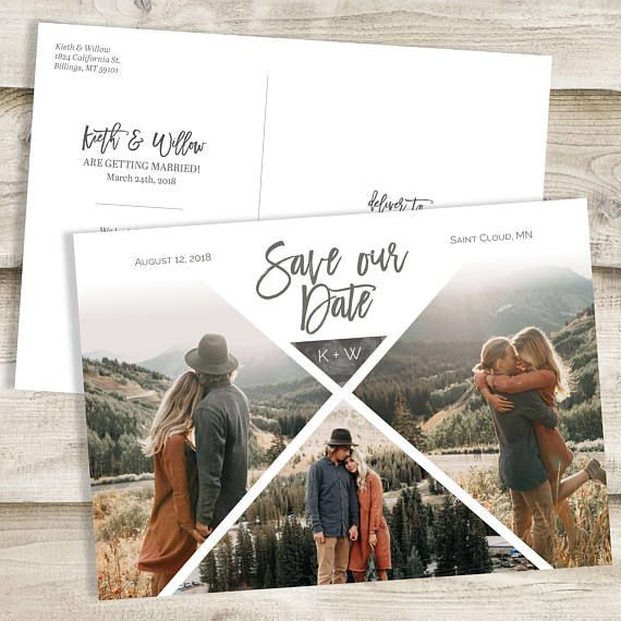 wedding full image save the date card with photo printable