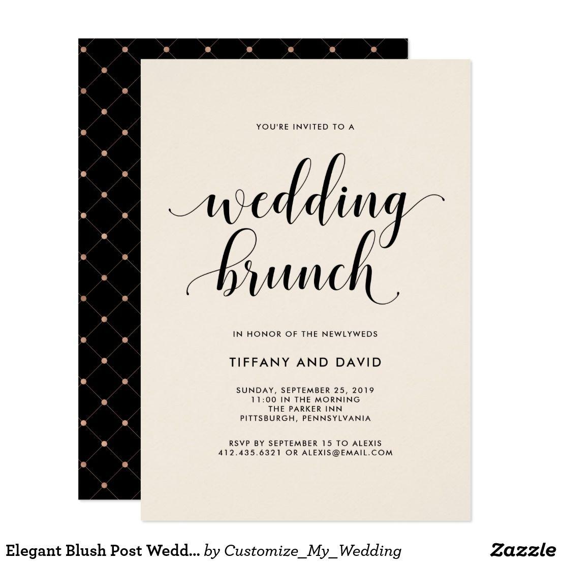 Elegant Blush Post Wedding Brunch Invitation This Elegant And Chic