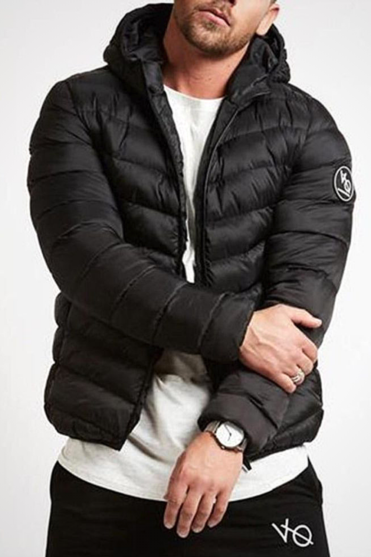 Mens Warm Hooded Thick Bubble Coat Solid Zip Pocket Down Jacket Outwear Outwear Jackets Mens Outdoor Jackets Down Jacket [ 1500 x 1000 Pixel ]