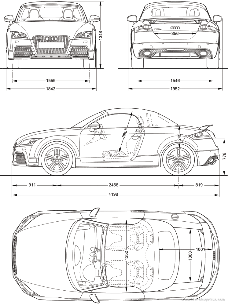 2010 Audi TT RS Roadster blueprint | Vehicles | Pinterest | Cars ...