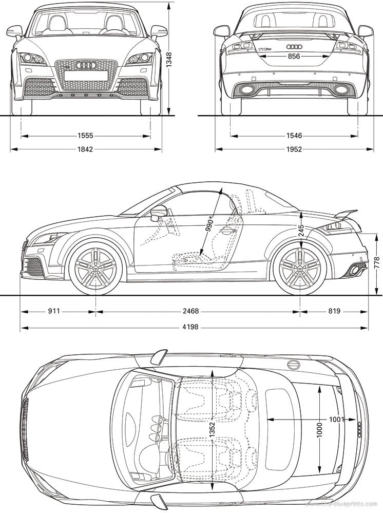 2010 Audi TT RS Roadster blueprint | 三视图 | Pinterest | Cars ...