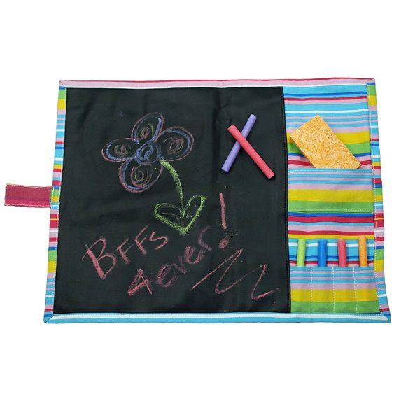 Personalized Doodlebugz Crayola Chalkboard Placemat Pink Stripe Chalkboard Placemats Kids Art Supplies Chalkboard Fabric