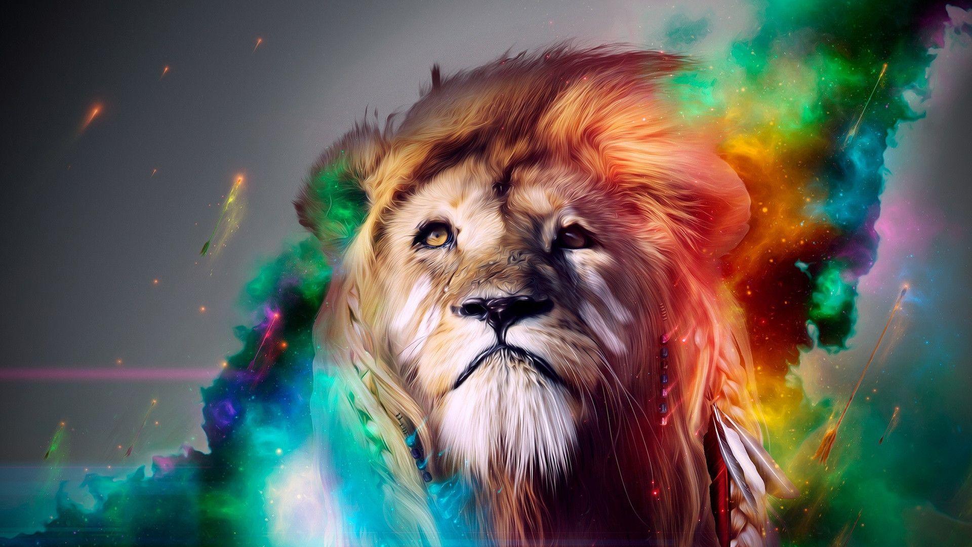 Hd 1920 X 1080 Rainbow Space Lion Aslanlar Aslan Sanat