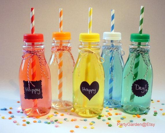 c4d8d2736fc1 30 Vintage Clear Plastic Milk Bottles - Select white lids with ...