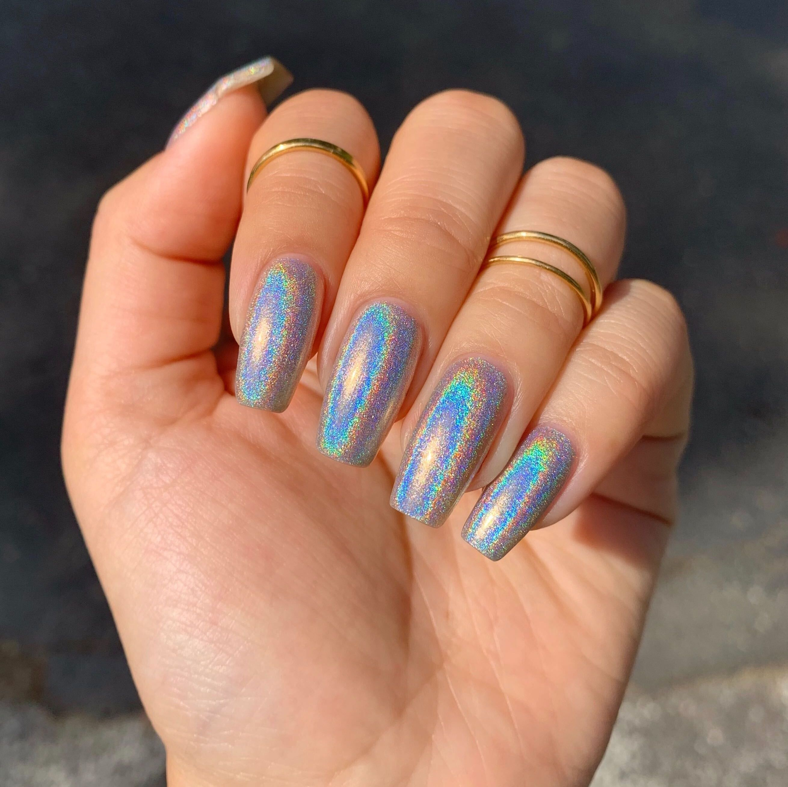 Moonflower In 2021 Holographic Nails Acrylic Nails Winter Nails Acrylic