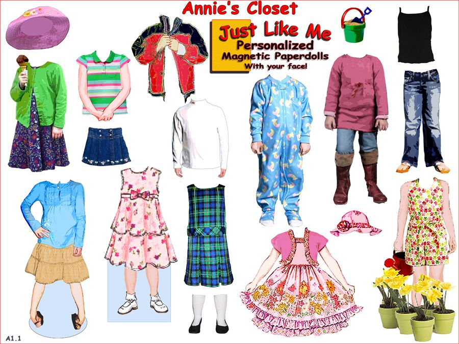 Personalized Magnetic Paper Dolls Customized Using Your Or Childs Photograph To Create A Unique Paperdoll With Own Face Wardrobe Sheets