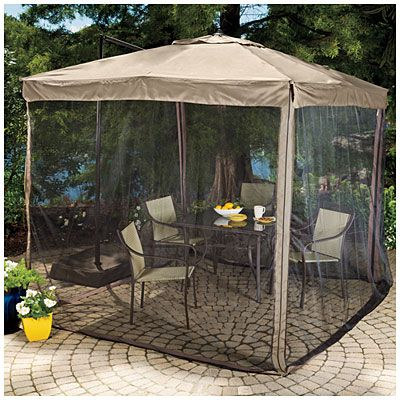 Wilson Fisher Offset 8 5 Square Umbrella With Netting Patio Gazebo Tent Patio Umbrellas