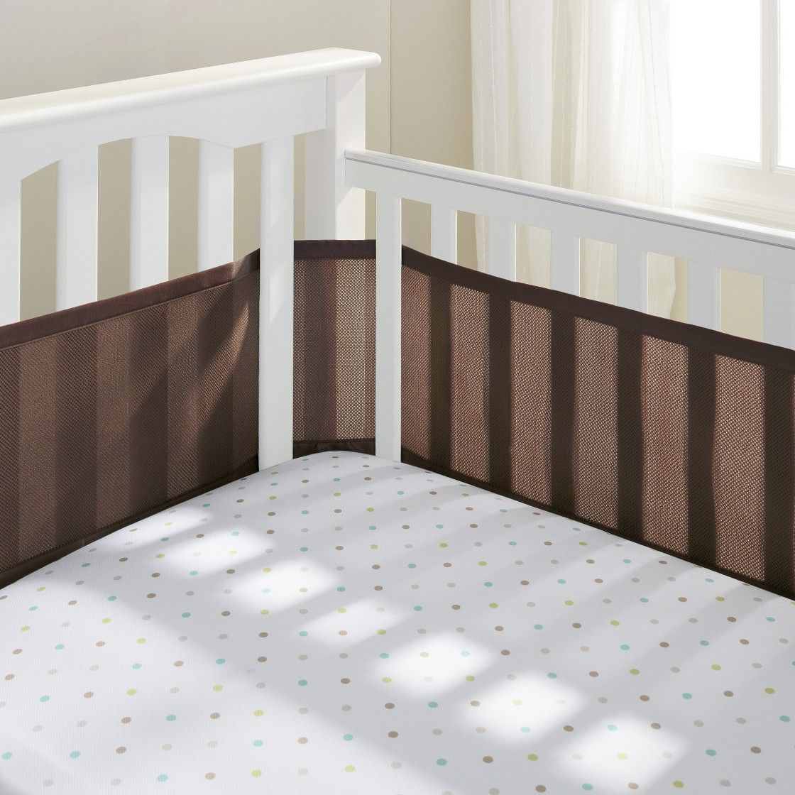 Breathable Mesh Crib Liner by BreathableBabyBison Brown