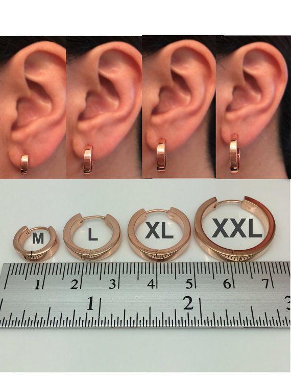 Men's hoop earrings in a rose gold polished finish, men's ...