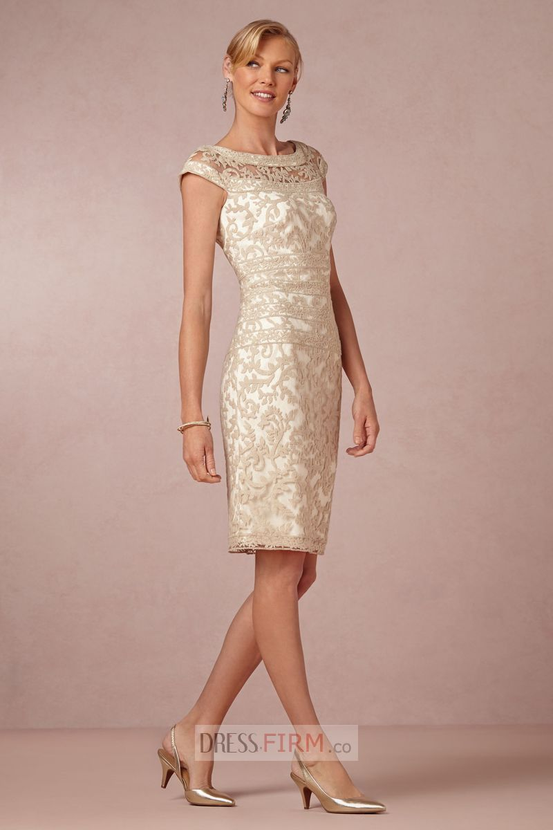 2015 Ladylike Sheath/Column Scoop Cap Sleeves Lace Knee-length ...