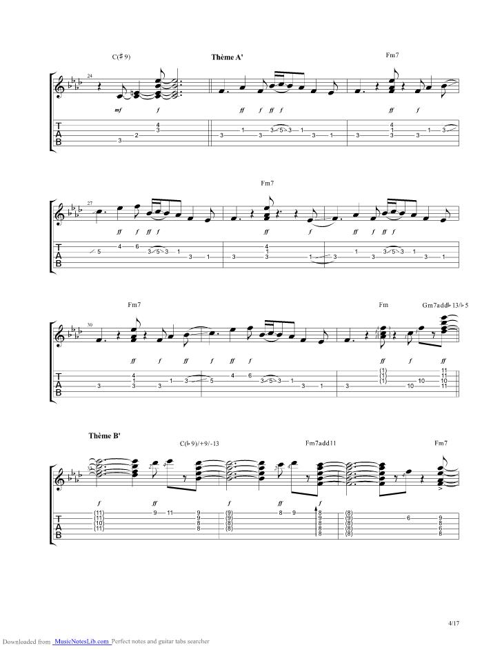 Midnight Blue guitar pro tab by Kenny Burrell @ musicnoteslib.com ...