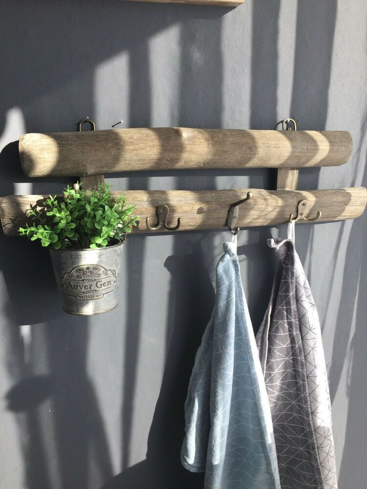 Wandgarderobe Holz Vintage Shabby Chic Grau Braun Ebay