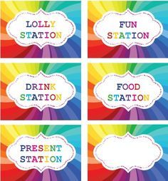 Rainbow Party printable labels for table setting. Rainbow ...