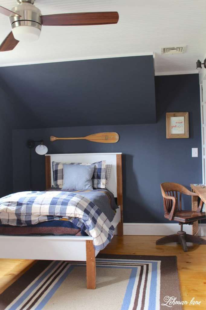 Come Check Out Navy Boys Bedroom Reveal We Completed Gutted The Room And Added New Ceiling Floors Paint Built In Desk A Doorway