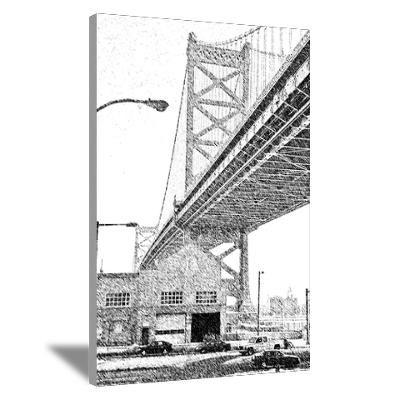 Ben Franklin  Bridge, Black and White on canvas
