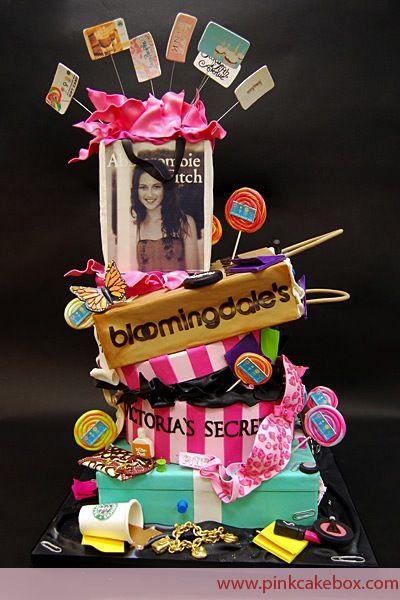 Fashion & Shopping Theme Bat Mitzvah Cake by Pink Cake Box - mazelmoments.com