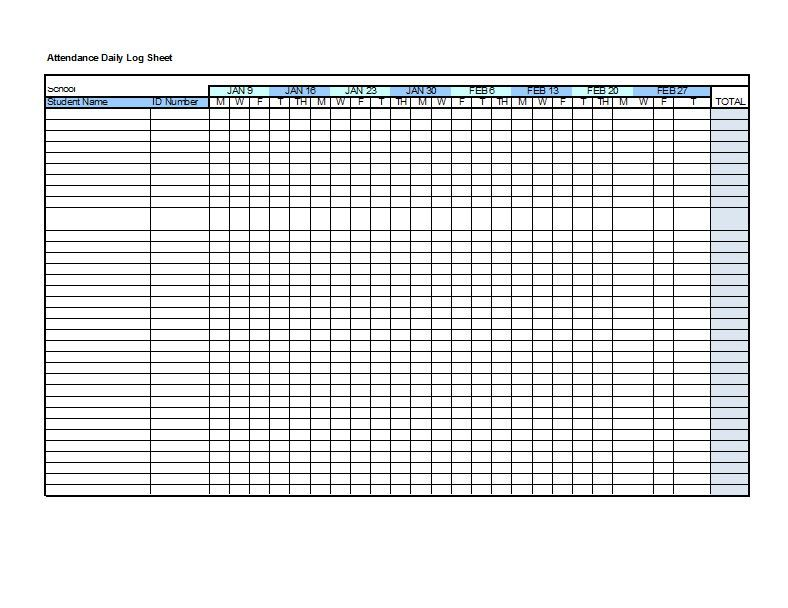 Attendance Sheet Excel Tracking Template Yearly Vacation Calendar