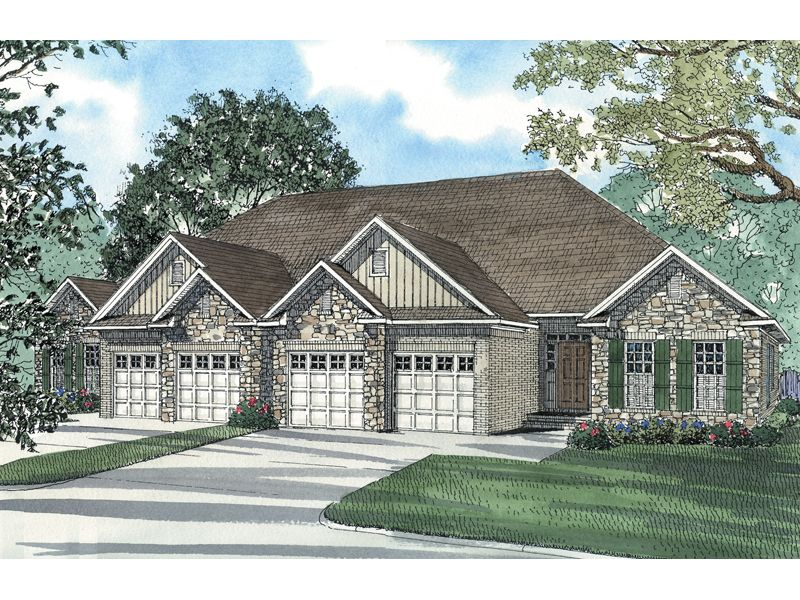 Hellman Rustic Ranch Duplex Family House Plans Duplex Plans Duplex Floor Plans