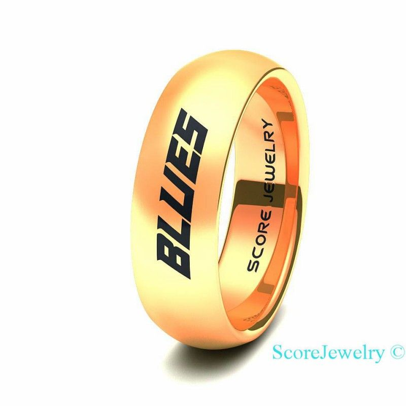 14K Rose Gold Tungsten Band Ring Mens Womens NHL Hockey St Louis Blues