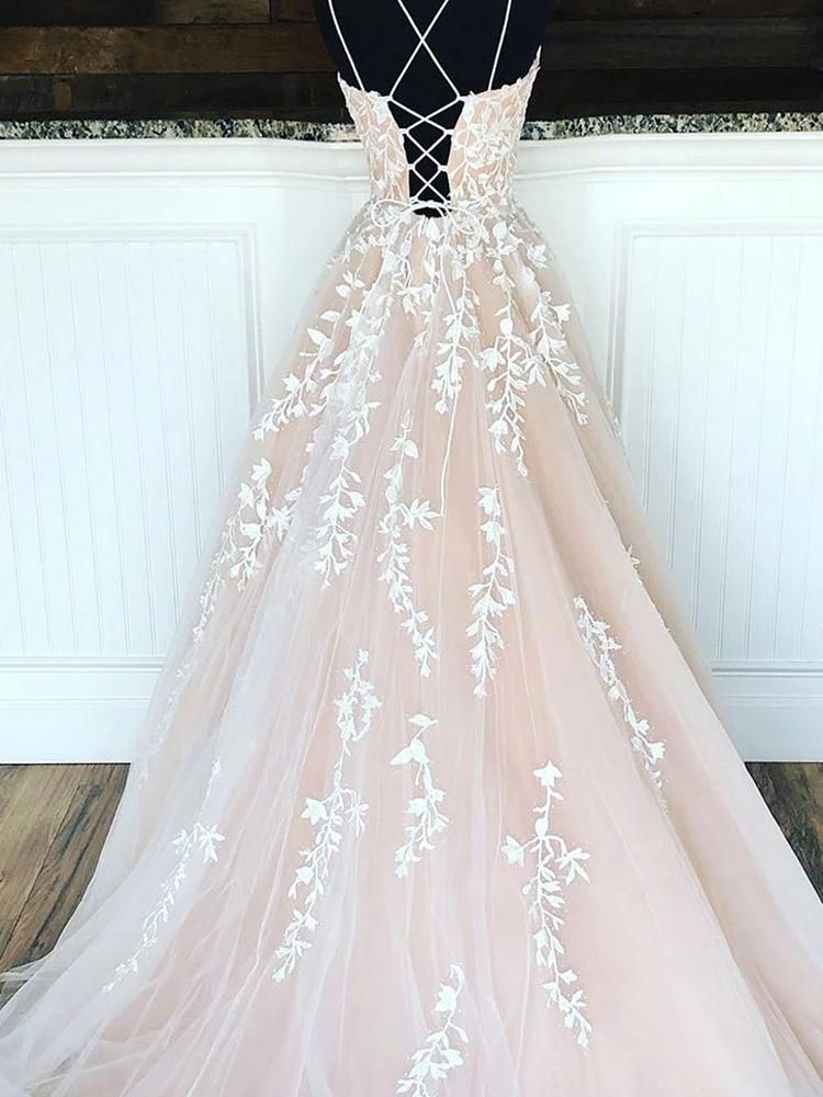 onlybridals Champagne tulle lace long prom dress, champagne tulle formal dress