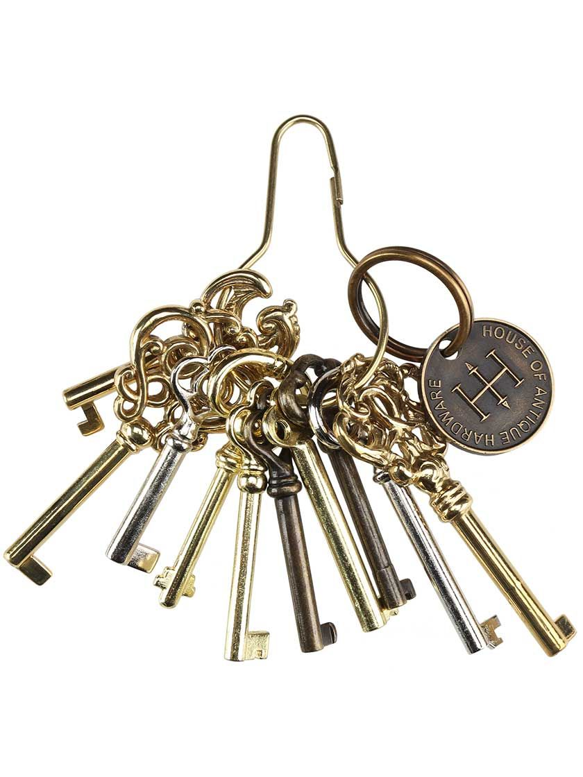 Ring of 10 Unique Barrel Keys For Cabinet & Furniture Locks | House of  Antique Hardware - Ring Of 10 Unique Barrel Keys For Cabinet & Furniture Locks House