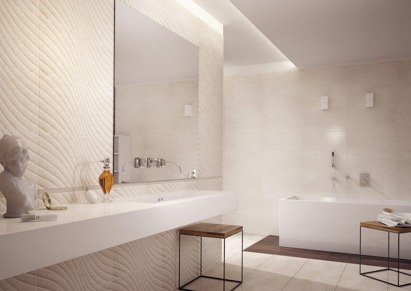 salle de bain beige avec carrelage en relief en grès cérame Salle