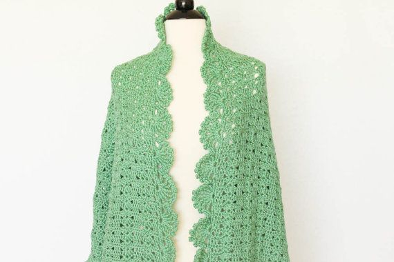 Green Shawl Crochet Scarf Wrap Soft Prayer Shawl, Wedding Shawl ...