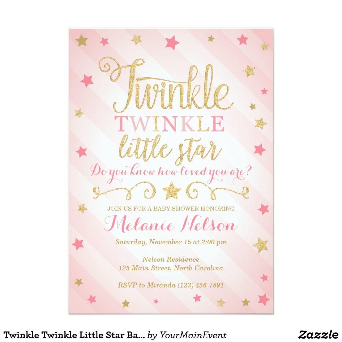 Twinkle Twinkle Little Star Baby Shower Invitation | Star baby ...