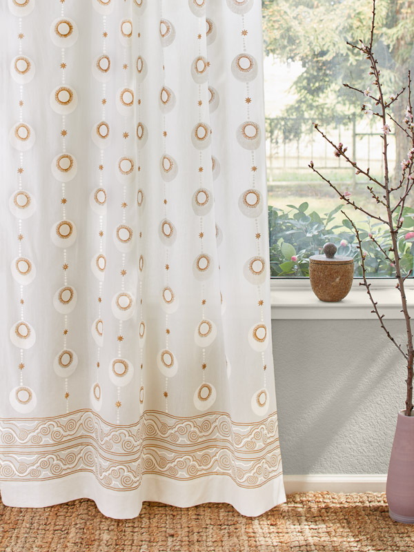 Celestial Embrace White Curtain Panel Curtains Panel