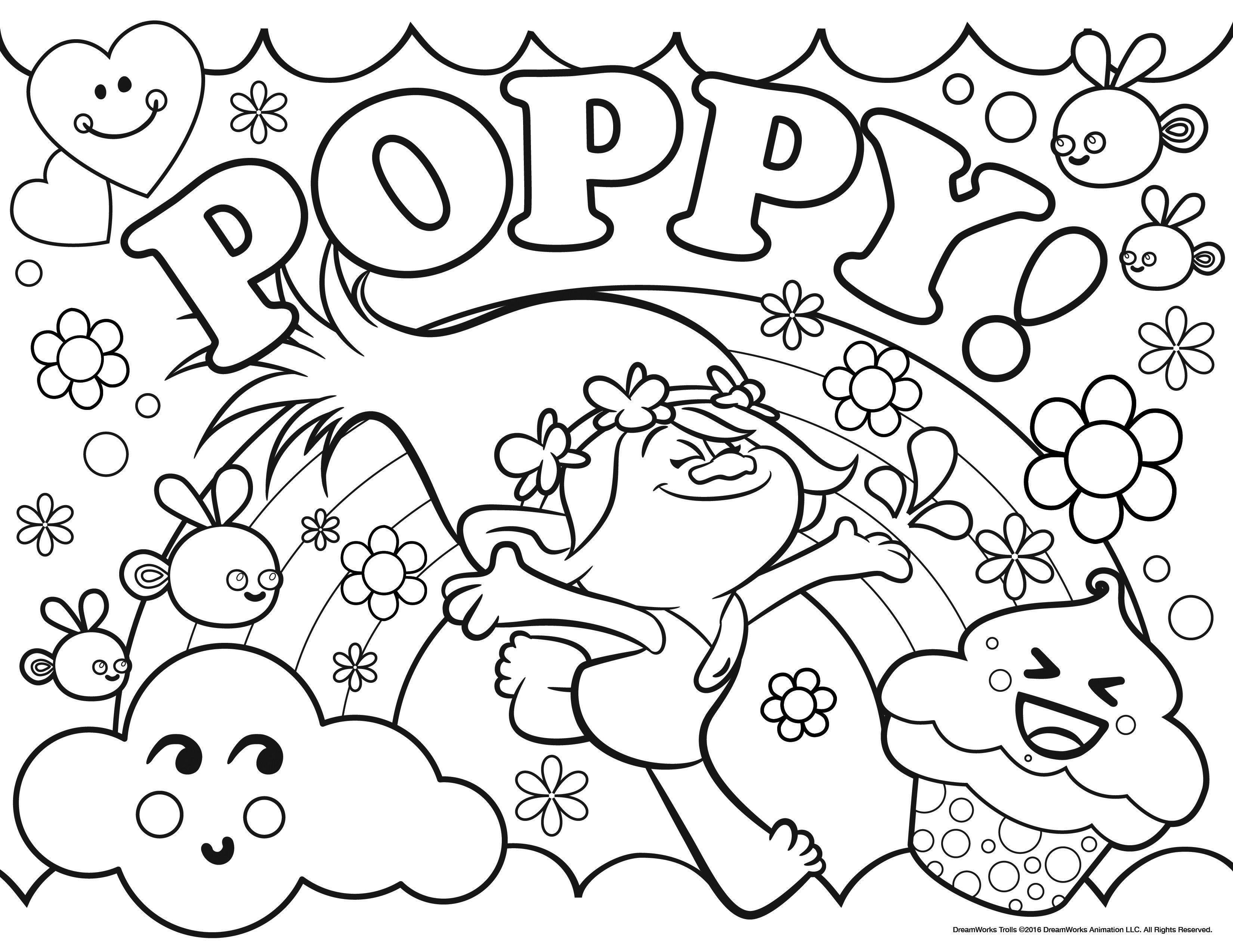 Magnifique coloriage  imprimer des Trolls avec la Princesse Poppy