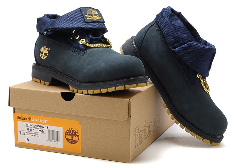 new concept cb868 a8b11 Timberland Authentic Men s Roll Top Boots With Gold Navy,Fashion Winter Timberland  Men Shoes,
