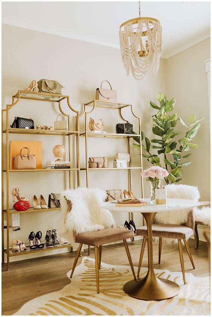 Vanity Office Ideas Office Decor Circle Desk Gold Rack Shoe Display Handbag Display Makeup Organization Office OrganizationGucci Belt Jewelry Display Velvet Chair Office...