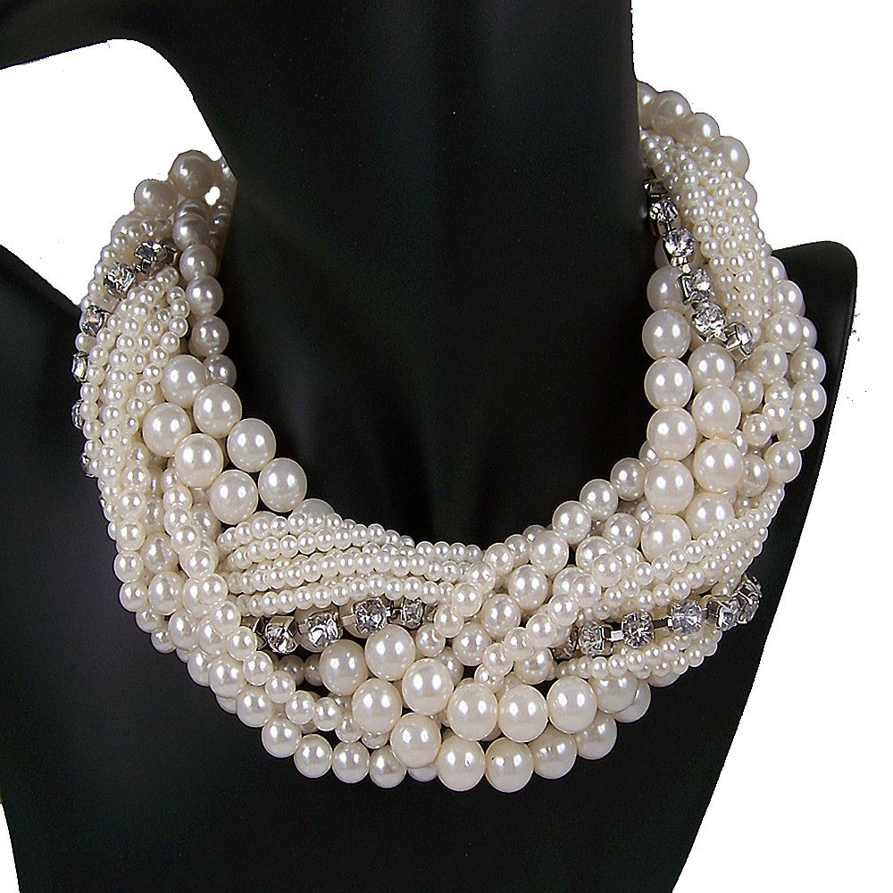 vintage-antique-style-jewellery-multi-string-twist-faux-pearl-choker-necklace