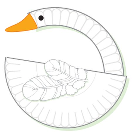 Swan made from paper plate, google eye, feathers, and paper beak ...