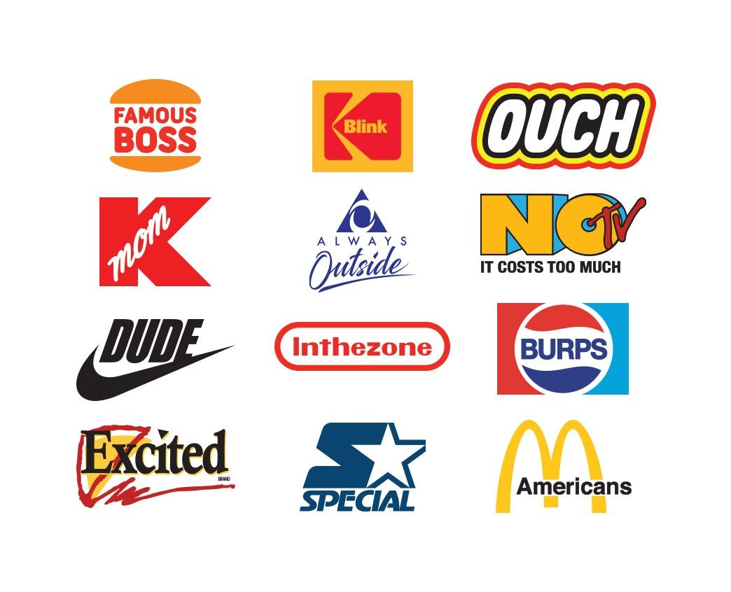 Offbrand Reinterpreting Famous Logos From The 80s And 90s Funny Logo Famous Logos 90s Logos