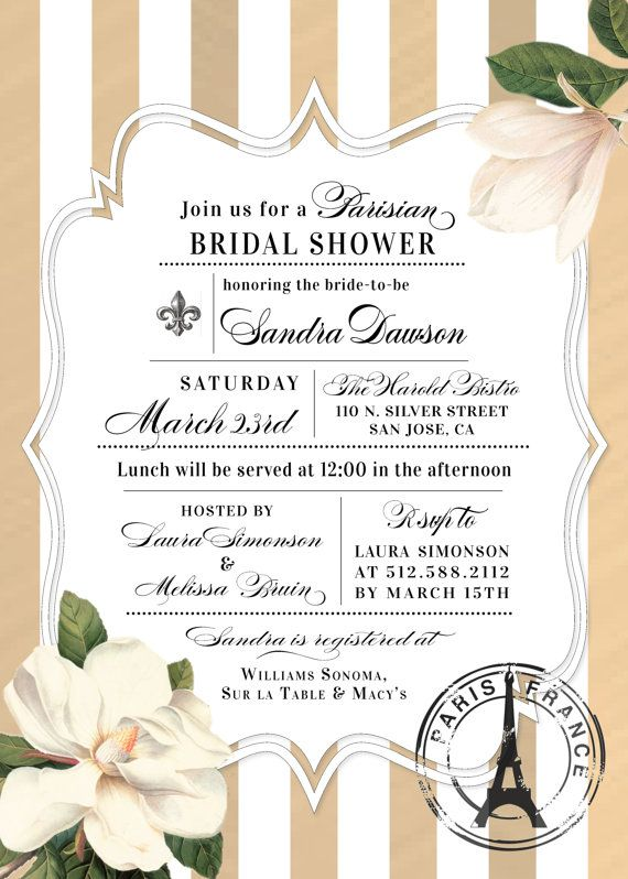 French Bridal Shower Invitations