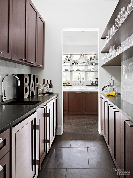 Oversize Letters Spelling Out Bar Direct Guests To This Spacious Home Bar The Galley Style Butler Kitchen Flooring Kitchen Pantry Cabinets Kitchen Floor Tile