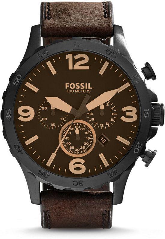 e49af92cd4d5 Fossil Nate JR1487 - Horloge - 50 mm - Leer - Bruin