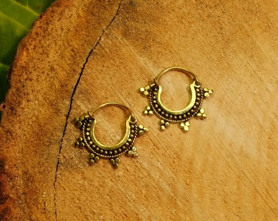 34107ec67 Brass earrings, Indian tribal small gold hoop earrings, hippie gypsy boho,  pair 1mm