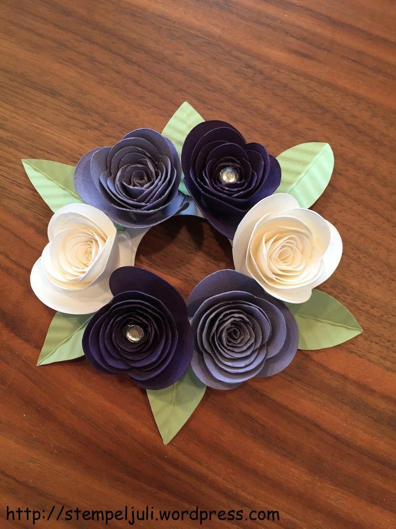 Deko für Kerze Kerzenring Rosen Stampin Up Blumen Glitzer