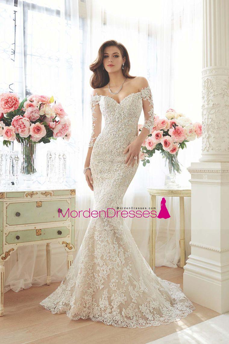3/4 length lace wedding dress   Mermaid Wedding Dresses  Length Sleeves Chapel Train With